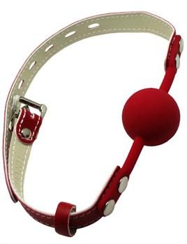 Красный силиконовый кляп с фиксацией и замочком