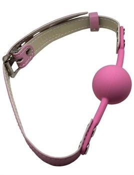 Розовый силиконовый кляп-шарик с фиксацией и замочком