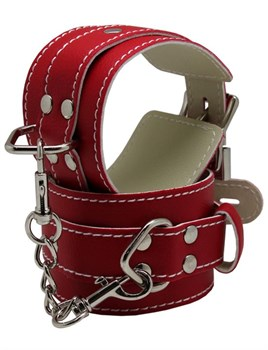 Красные регулируемые наручники с фиксацией на карабинах
