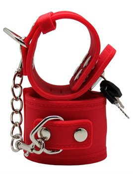 Красные силиконовые наручники с фиксацией и ключиком