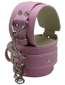 Розовые регулируемые наручники с фиксацией на карабинах