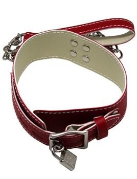 Красный ошейник с металлическим поводком и замочком