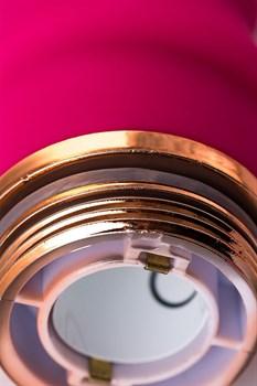 Розовый рельефный вибромассажер - 16 см.