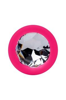 Розовый анальный страз с прозрачным кристаллом - 7,3 см.