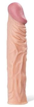 Телесная реалистичная насадка с рельефом - 19 см.