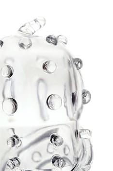 Прозрачная рельефная насадка на пенис - 15,3 см.
