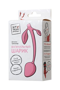 Розовый силиконовый вагинальный шарик с лепесточками