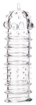 Прозрачная рельефная насадка на фаллос - 15,3 см.