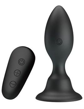 Черная анальная вибропробка с пультом Mr.Play - 10,8 см.