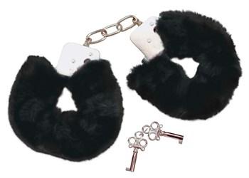 Металлические наручники с черной опушкой