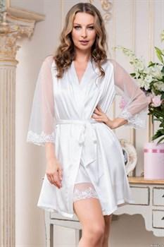 Романтичный запашной халат Eva с кружевом
