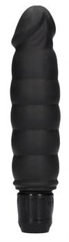 Черный вибромассажер Ribbed Multispeed Vibrator - 17 см.