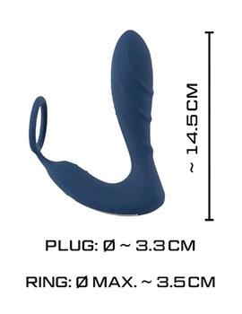 Синий вибростимулятор простаты с кольцом - 14,5 см.
