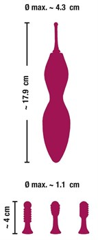 Ярко-розовый клиторальный вибратор с 3 насадками Spot Vibrator with 3 Tips - 17,9 см.