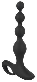 Черная анальная цепочка с вибрацией Rechargeable Anal Beads - 20 см.