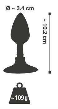 Хромированная анальная пробка Metal Plug with Suction Cup на присоске - 10,2 см.
