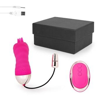 Ярко-розовое ребристое виброяйцо с пультом ДУ