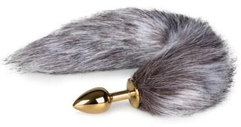 Золотистая анальная пробка с серым пушистым хвостом Fox Tail Plug
