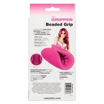 Розовый рельефный мастурбатор Beaded Grip