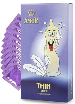 Супертонкие презервативы AMOR Thin  Яркая линия  - 10 шт.