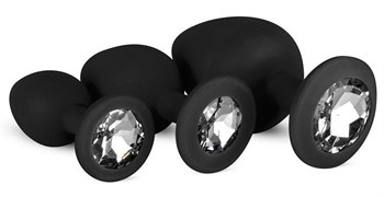 Набор из 3 черных анальных пробок со стразами Diamond Plug Set