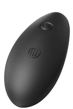 Черный изогнутый стеклянный вибростимулятор с пультом ДУ и присоской - 10,6 см.