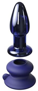Синий конический стеклянный вибростимулятор с пультом ДУ и присоской - 10,2 см.