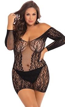 Пикантное коротенькое платье с длинным рукавом и отрытыми плечами