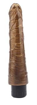 Золотистый вибратор-реалистик Johnny Boner - 23 см.