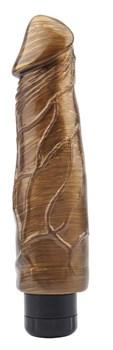 Золотистый вибратор-реалистик Pat McCock - 23,5 см.