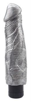 Серебристый вибратор-реалистик Pat McCock - 23,5 см.
