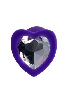 Фиолетовая анальная втулка с прозрачным стразом-сердечком - 7 см.