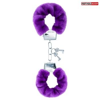 Металлические наручники с мягкой фиолетовой опушкой