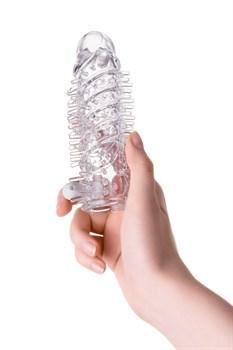 Прозрачная насадка на пенис с шипиками и вибропулей - 13,4 см.