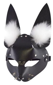 Черная маска  Зайка  с меховыми ушками