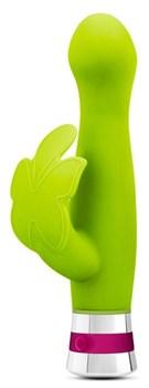 Лаймовый вибратор LOTUS FLUTTER с клиторальной бабочкой - 18,5 см.