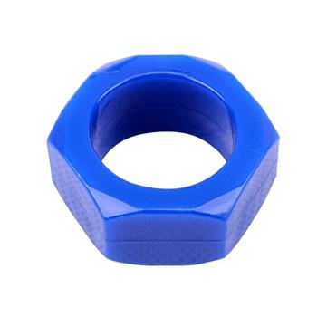 Синее эрекционное кольцо-шестигранник Nust Bolts Cock Ring