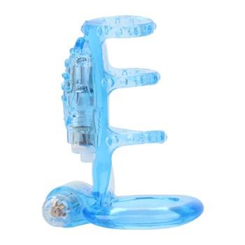 Голубая насадка-клетка с вибрацией Dual Vibrating Cock Cage - 8 см.
