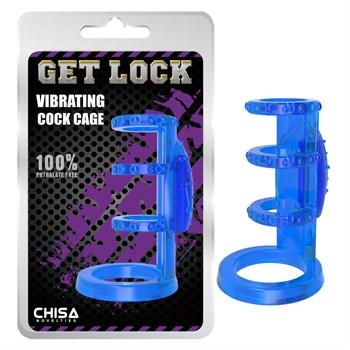 Синяя насадка-клетка с вибрацией Vibrating Cock Cage - 7,6 см.