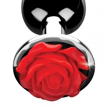 Серебристая анальная пробка с розой Red Rose Butt Plug - 8 см.