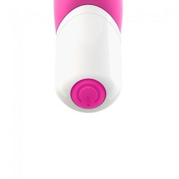 Ярко-розовый вибратор Addict с ребрышками - 16 см.