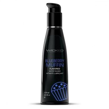 Лубрикант на водной основе с ароматом черничного маффина Wicked Aqua Blueberry Muffin - 120 мл.