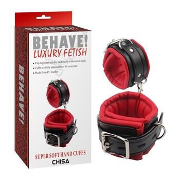 Черно-красные кожаные наручники Super Soft Hand Cuffs