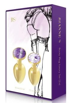 Набор из 2 золотистых анальных пробок с фиолетовыми кристаллами Booty Plug Original Luxury Set