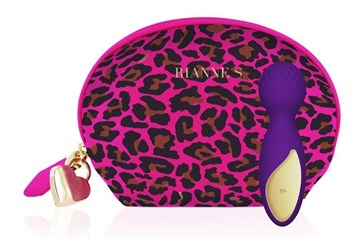 Фиолетовый вибратор Lovely Leopard - 12 см.
