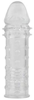 Прозрачная реалистичная насадка на пенис Extra Texture Sleeve - 16,2 см.