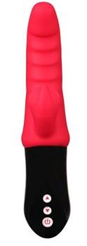 Красный вибростимулятор-кролик Ribbed Punch - 23,7 см.