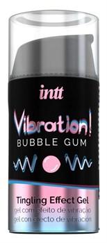 Жидкий интимный гель с эффектом вибрации Vibration! Bubble Gum - 15 мл.