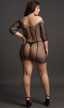 Мини-платье Duo Net Sleeved Mini Dress