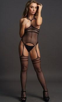 Кэтсьюит с открытой грудью Strappy Suspender Bodystocking